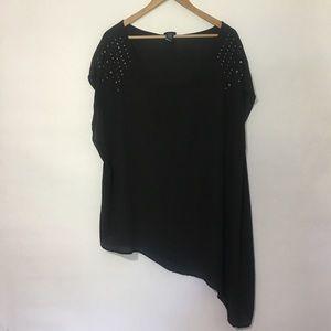 Torrid studded asymmetrical black top. Size 2/2x